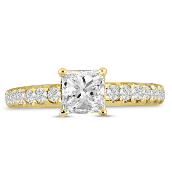1 1/2ct Princess Cut Diamond Engagement Ring Crafted in 14 Karat Yellow Gold