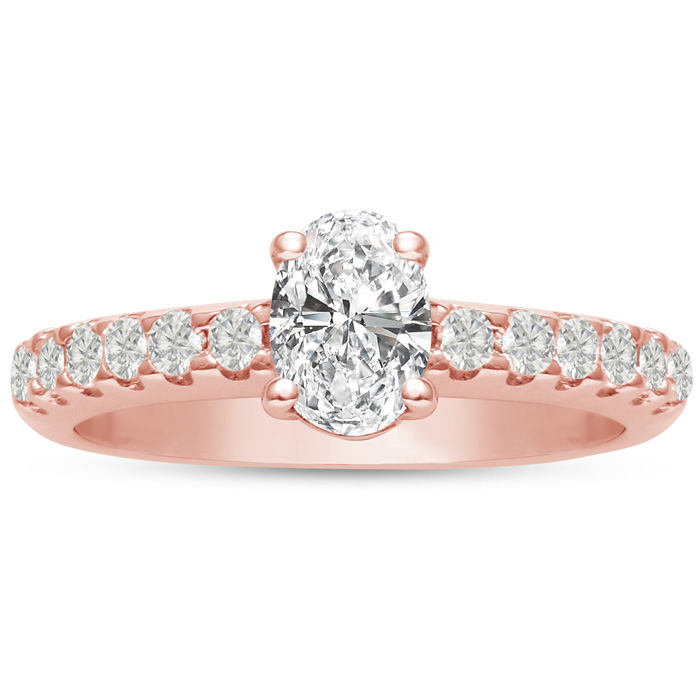 1 1/3ct Oval Diamond Engagement Ring Crafted in 14 Karat Rose Gold