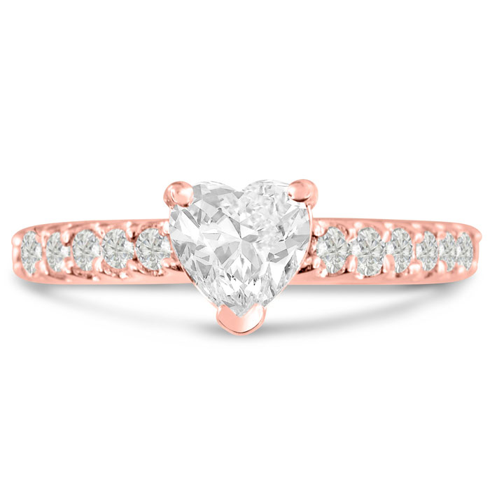 1 1/3ct Heart Shaped Diamond Engagement Ring Crafted in 14 Karat Rose Gold thumbnail