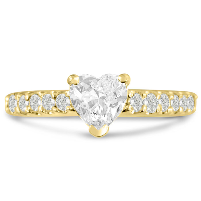 1 1/3ct Heart Shaped Diamond Engagement Ring Crafted in 14 Karat Yellow Gold