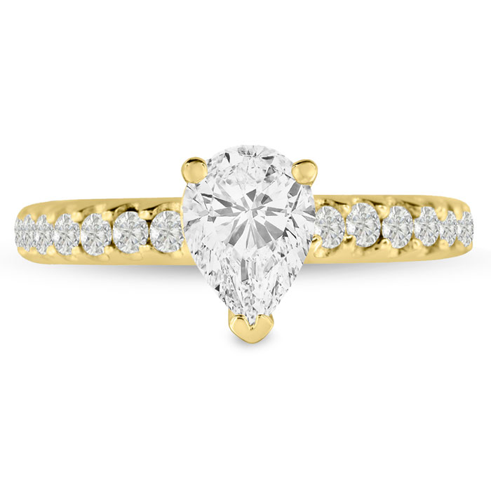 1 1/2ct Pear Shaped Diamond Engagement Ring Crafted in 14 Karat Yellow Gold