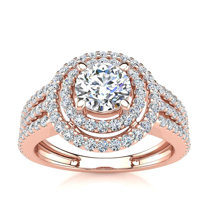 1 1/2ct Round Double Halo Diamond Engagement Ring Crafted in 14 Karat Rose Gold thumbnail