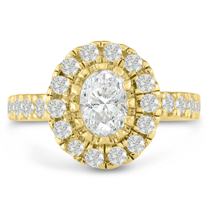 1.60ct Oval Halo Diamond Engagement Ring Crafted in 14 Karat Yellow Gold