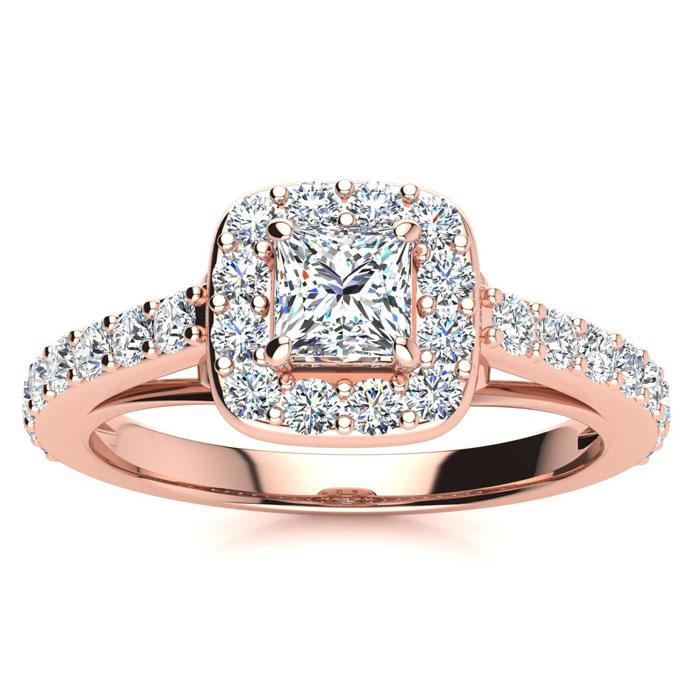 2ct Princess Cut Halo Diamond Engagement Ring Crafted in 14 Karat Rose Gold