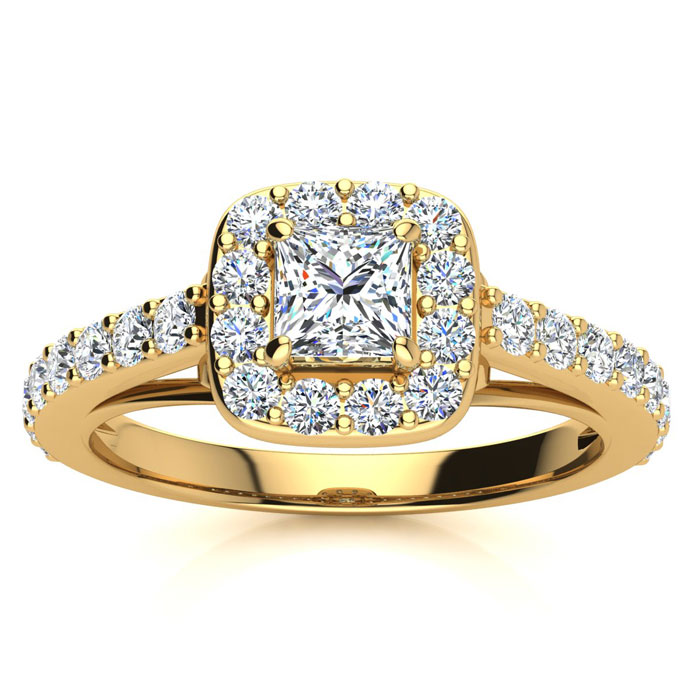 2ct Princess Cut Halo Diamond Engagement Ring Crafted in 14 Karat Yellow Gold