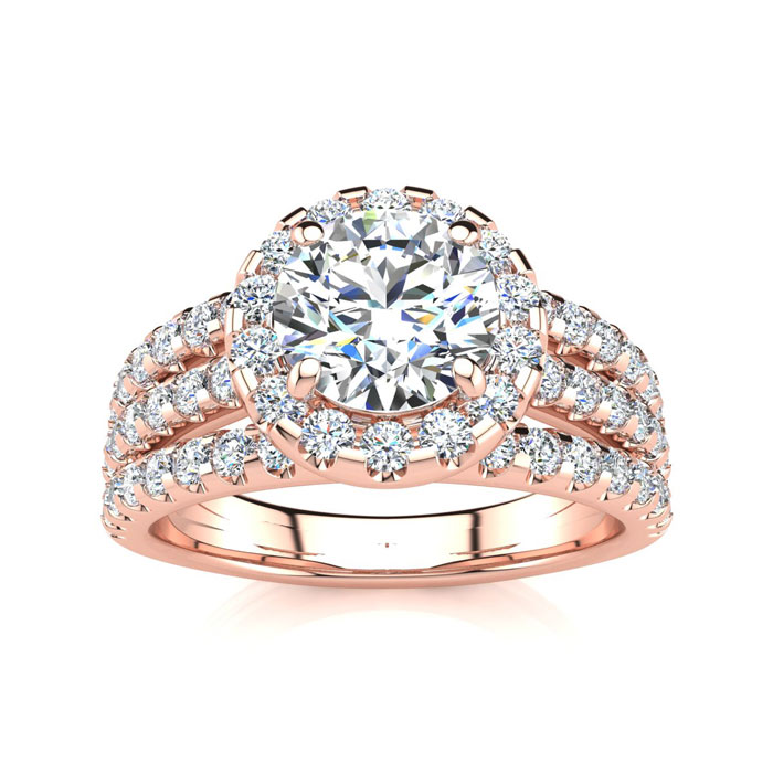 1 2/3ct Halo Diamond Engagement Ring Crafted in 14 Karat Rose Gold
