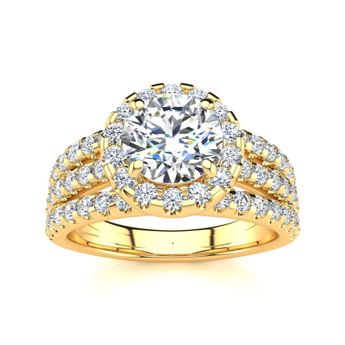 1 2/3ct Halo Diamond Engagement Ring Crafted in 14 Karat Yellow Gold