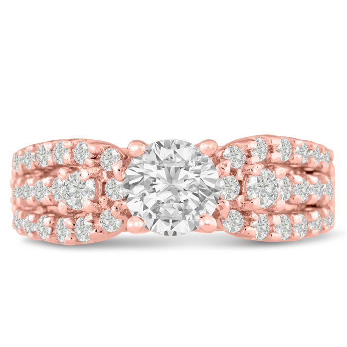1 1/5ct Round Brilliant Diamond Engagement Ring Crafted in 14 Karat Rose Gold