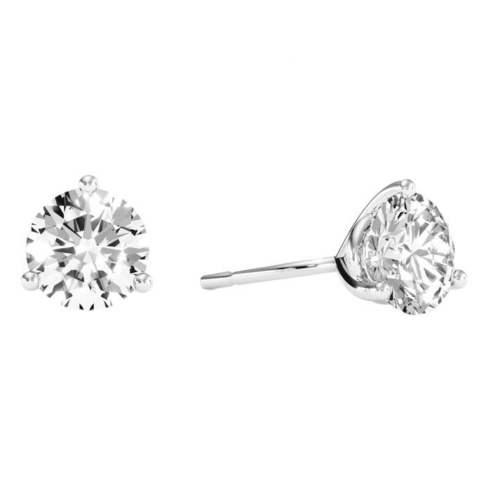2.00 Carat Round Cut Clarity Enhanced Diamond Stud Earrings, H-I Color, SI Clarity