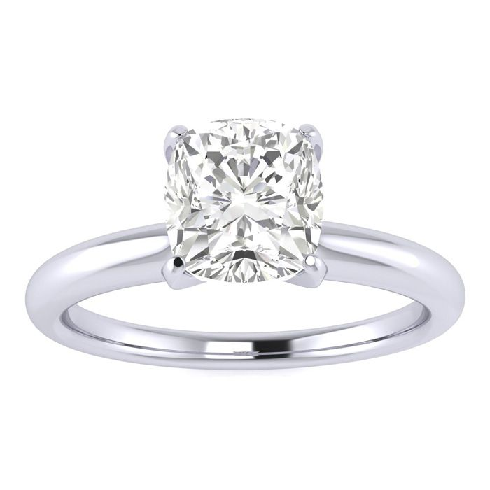 1 Carat Cushion Shape Diamond Solitaire Ring In 14K White Gold