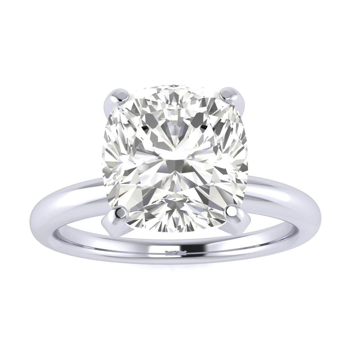 3ct Very Fine Cushion Diamond Solitaire in 14k White Gold, Clarity Enhanced