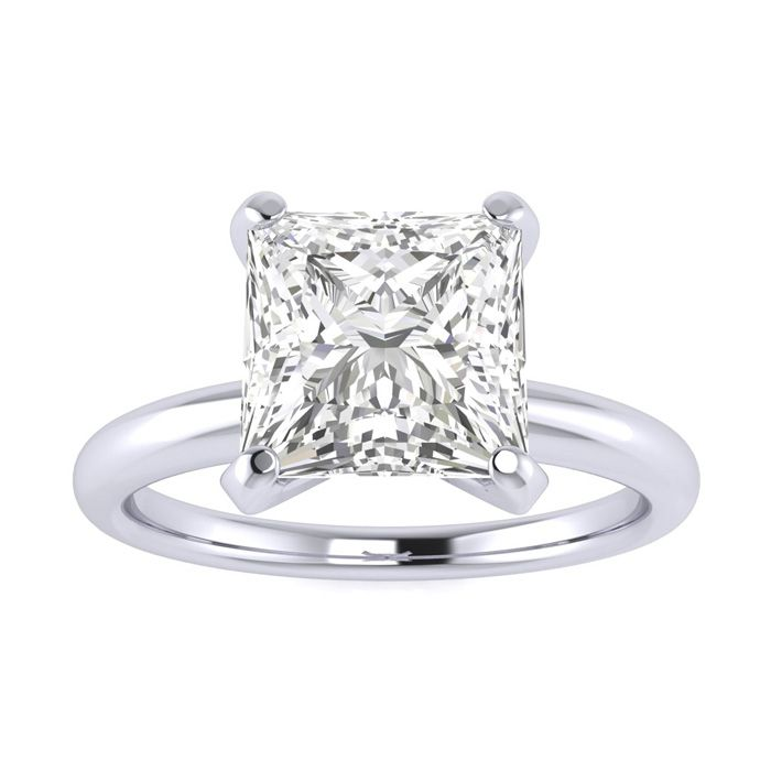 2.00 Carat Princess Cut Diamond Solitaire Engagement Ring In 14 Karat White Gold