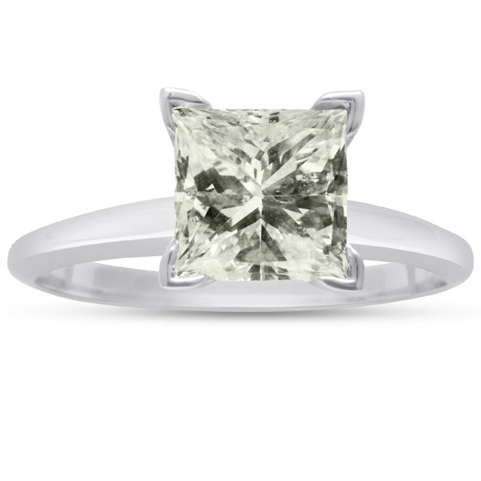 2ct Fine Princess Diamond Solitaire in 14k White Gold, Clarity Enhanced