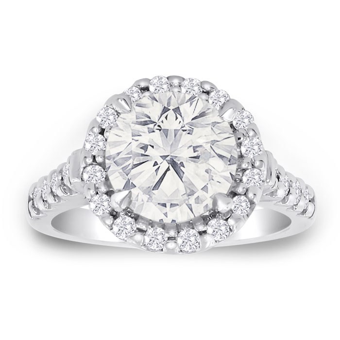 3.58ct Fine Diamond Engagement Ring in 18k White Gold