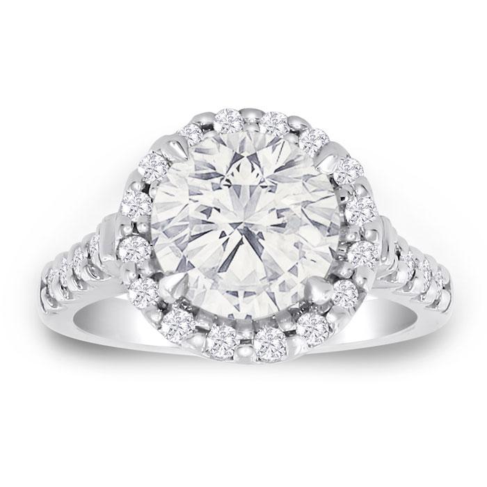 3.58ct Fine Diamond Engagement Ring in 18k White Gold