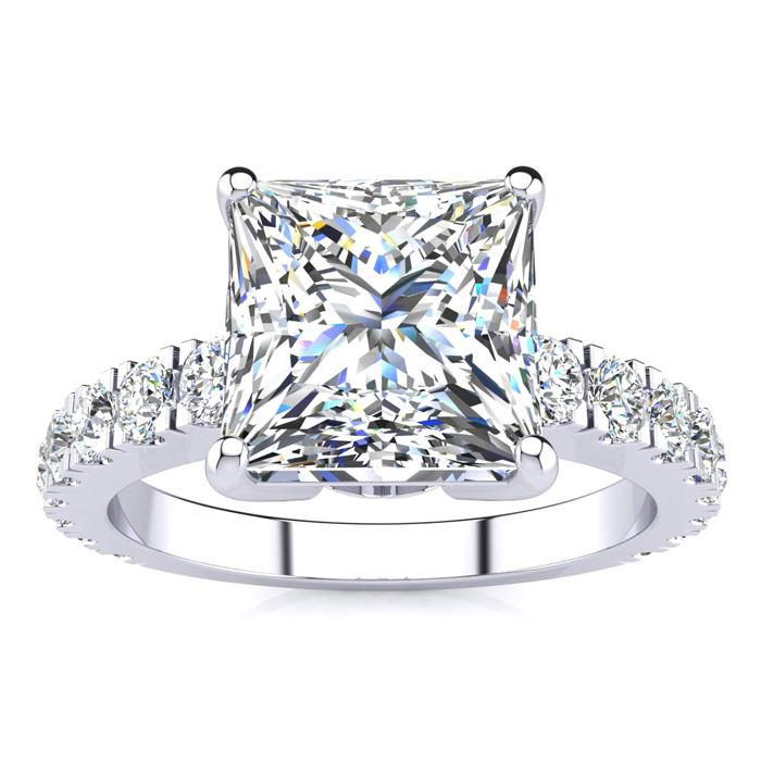 La Fantasia! 3.50 Carat Princess Center Diamond Engagement Ring Including 2.50 Carat Center Diamond