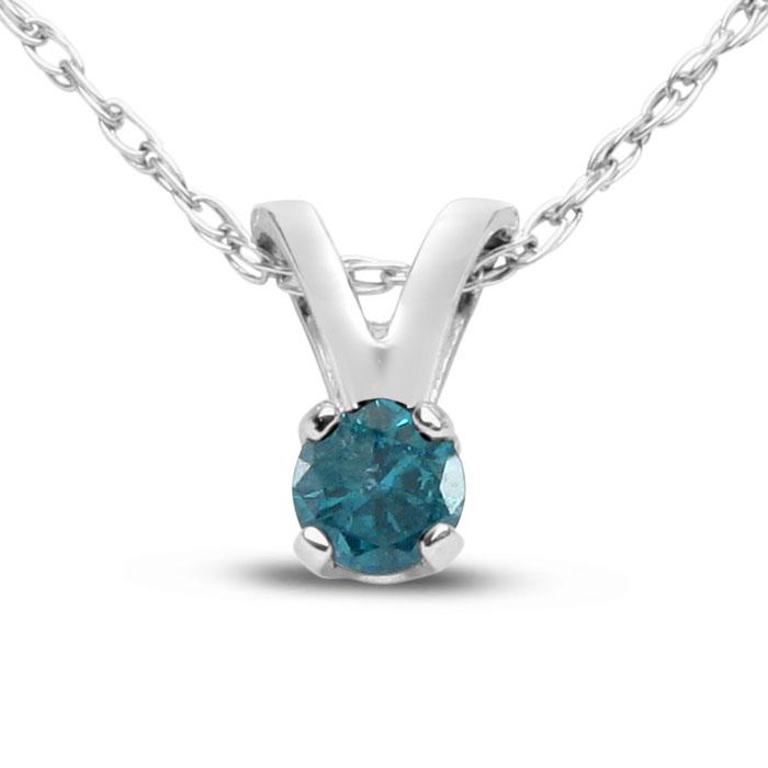 1/10th Carat Blue Diamond Solitaire Necklace