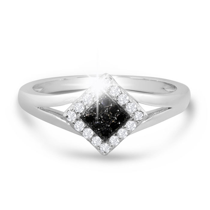 1/5ct Black and White Princess Diamond Ring