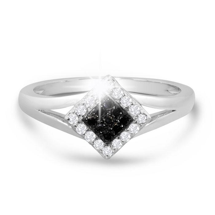 1/5ct Black and White Princess Diamond Ring