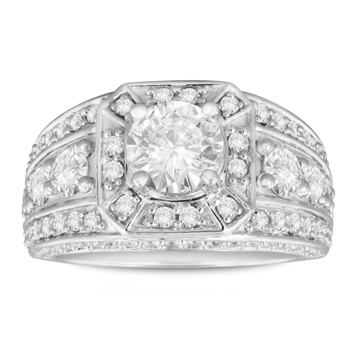 2.31ct Fine Diamond Engagement Ring in 14k White Gold