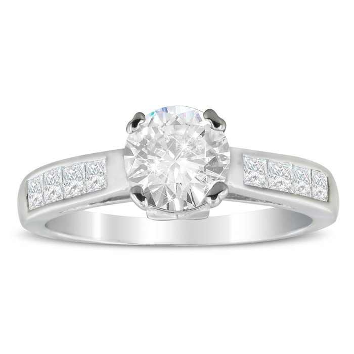 1 2/3 Carat Fine Diamond Engagement Ring In 14 Karat White Gold