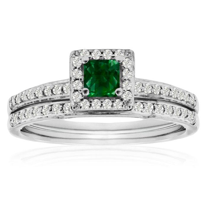 1/2ct Pave Emerald and Diamond Bridal Set thumbnail