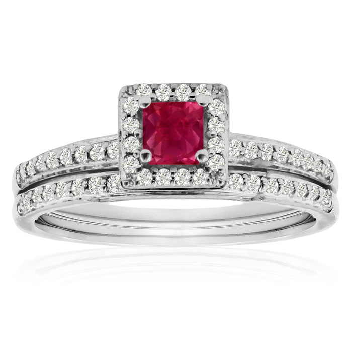 1/2ct Pave Ruby and Diamond Bridal Set thumbnail
