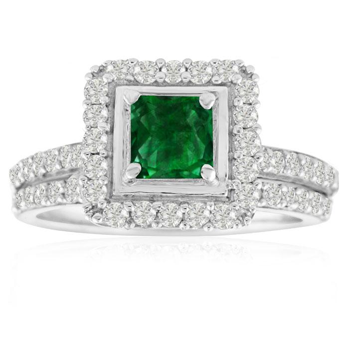 1.5ct Princess Pave Emerald and Diamond Bridal Set