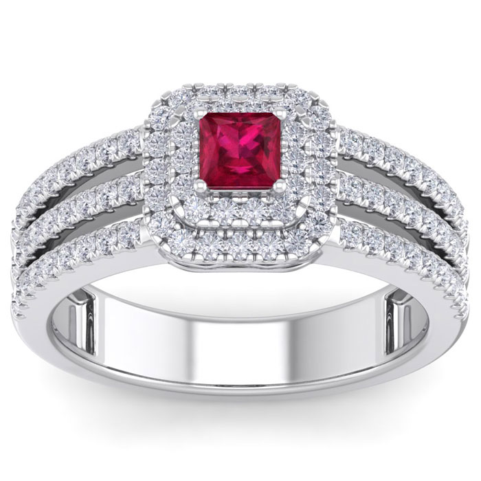 1 2/3ct Princess Cut Double Halo Ruby and Diamond Engagement Ring Crafted in 14 Karat White Gold