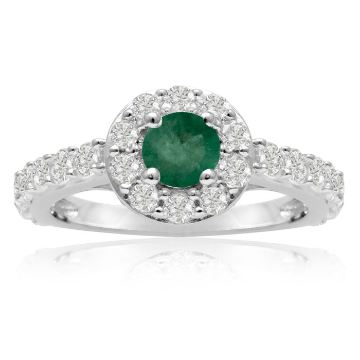 1.6ct Halo Emerald and Diamond Engagement Ring in 14k White Gold