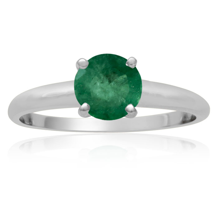 1ct Emerald Solitaire Engagement Ring Crafted In 14K White Gold. thumbnail
