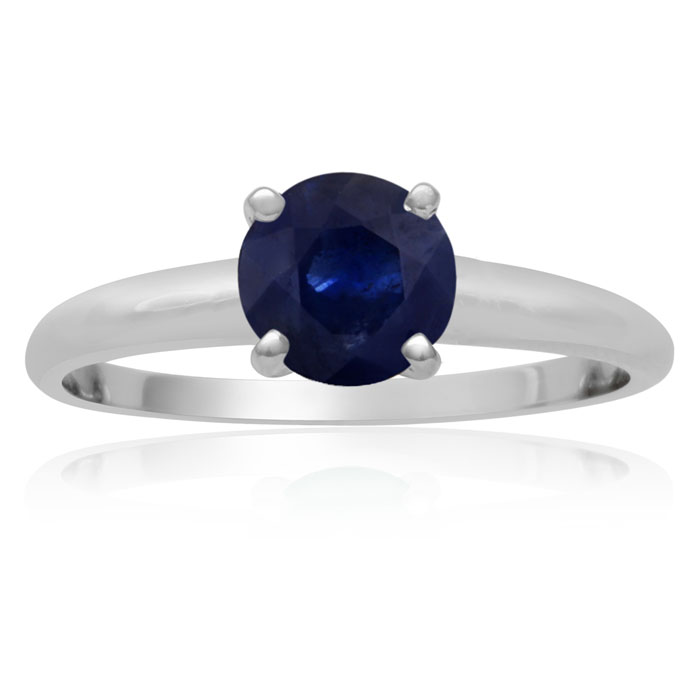1ct Sapphire Solitaire Engagement Ring Crafted In 14K White Gold. thumbnail