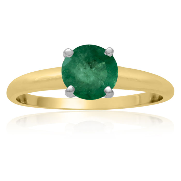 1ct Emerald Solitaire Engagement Ring Crafted In Solid 14 Karat Yellow Gold thumbnail