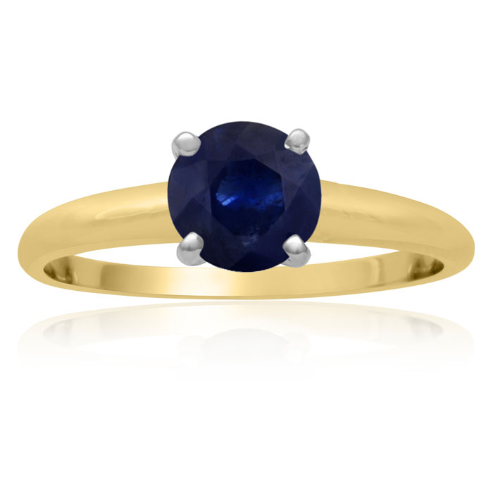 1ct Sapphire Solitaire Engagement Ring Crafted In Solid 14 Karat Yellow Gold thumbnail