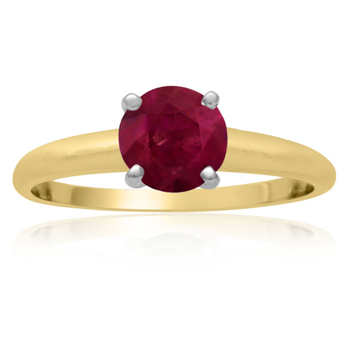 1ct Ruby Solitaire Engagement Ring Crafted In Solid 14 Karat Yellow Gold