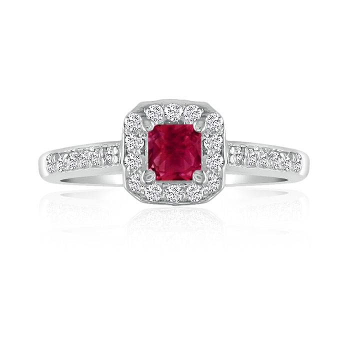 Hansa 2/3ct Ruby and Diamond Princess Engagement Ring in 14k White Gold, H-I, SI2-I1, Available Ring Sizes 4-9.5