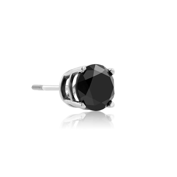 1ct Black Single Diamond Stud Earring in 10k White Gold