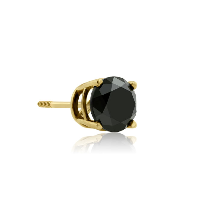 1ct Black Single Diamond Stud Earring in 10k Yellow Gold
