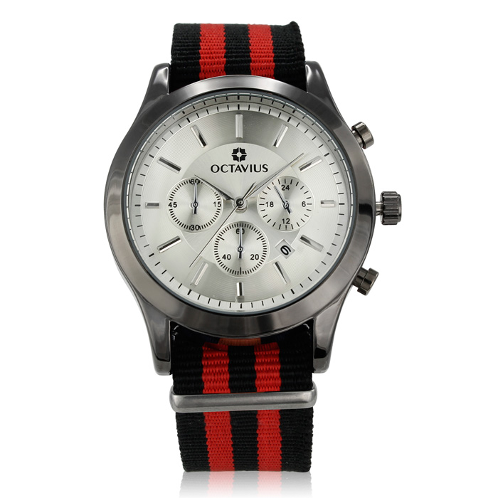 Octavius Men's Headsail Watch - Red and Black