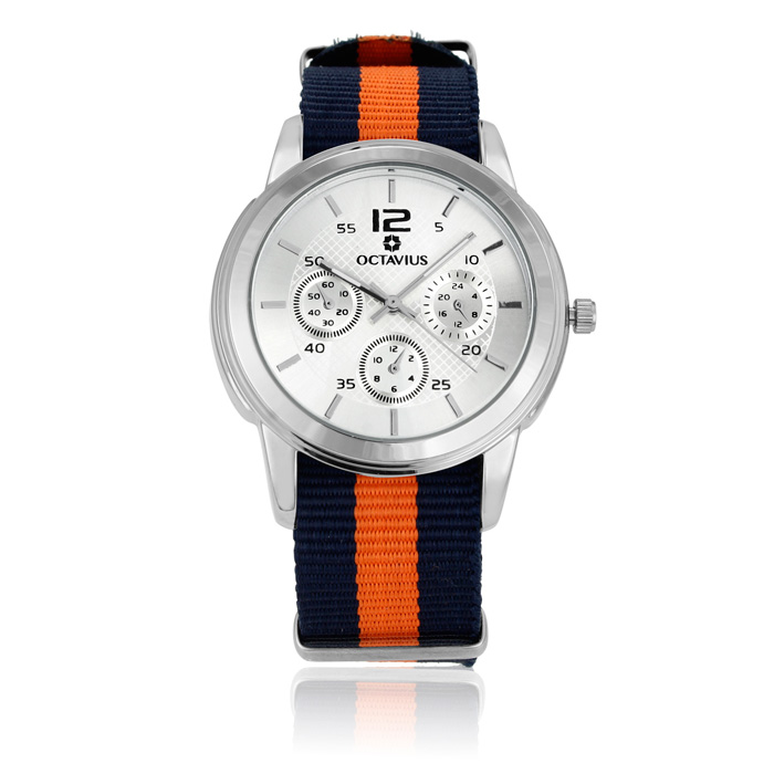Octavius Men's Americas Watch - Navy and Orange