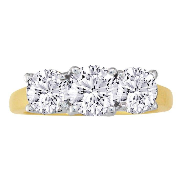 1/4ct Three Diamond Ring in 14k Yellow Gold thumbnail