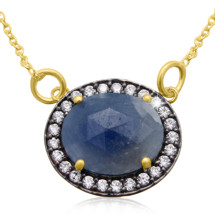 13 Carat Natural Blue Sapphire And CZ Necklace In 18 Karat Gold Over Silver