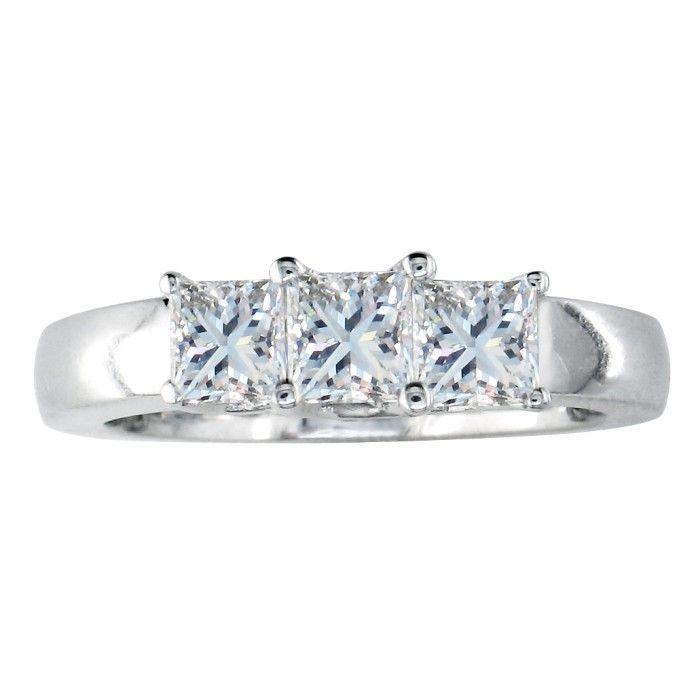 1ct Princess Cut Diamond Ring in 14k White Gold, G/H Color VS Clarity