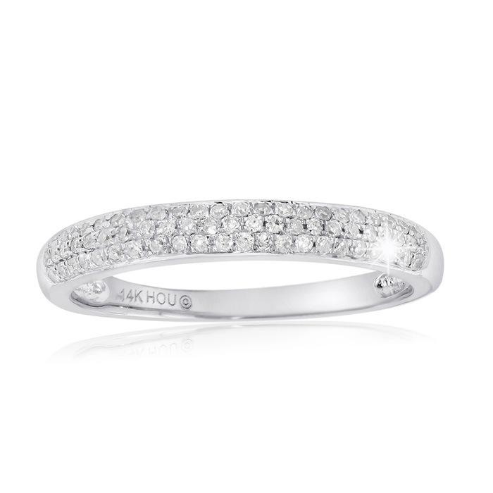 1/4 Carat Micro Pave Diamond Wedding Band In 14 Karat White Gold thumbnail