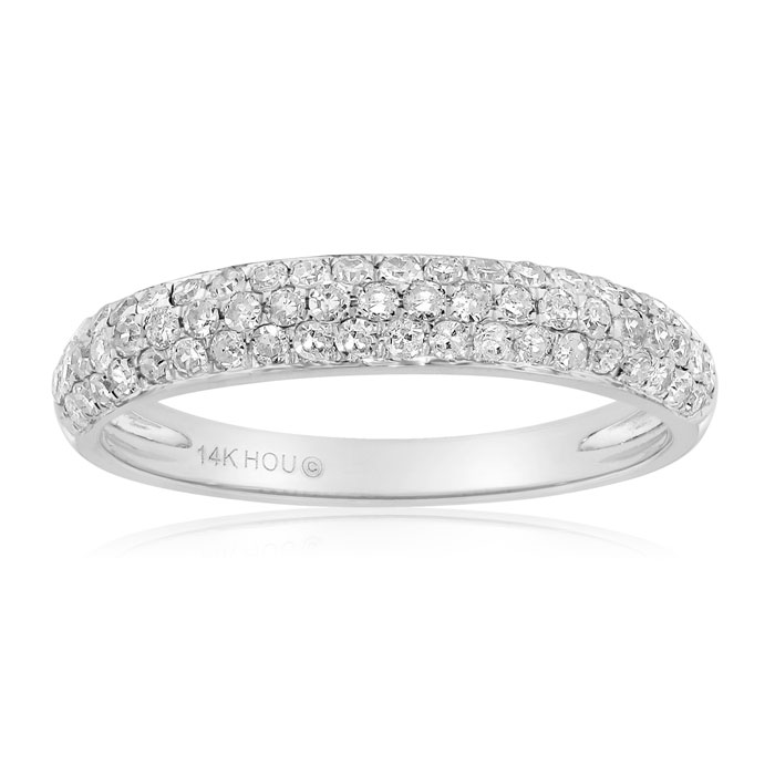 1/2 Carat Micro Pave Diamond Wedding Band In 14 Karat White Gold thumbnail