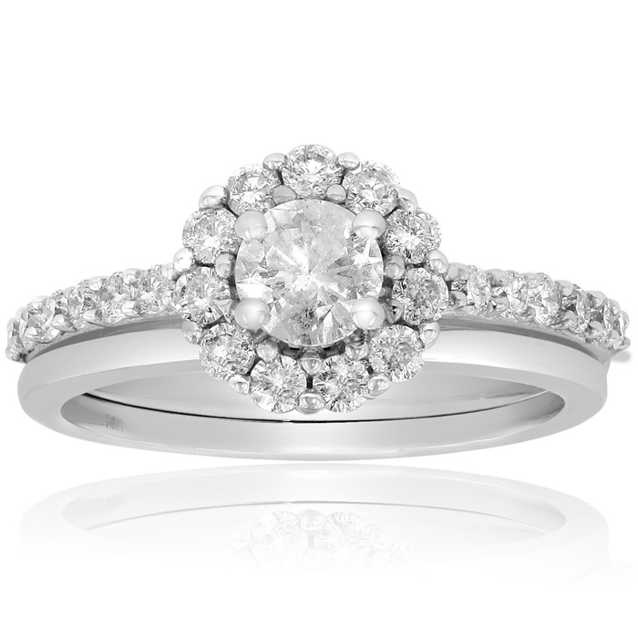 1 Carat Halo Diamond Bridal Set In 14 Karat White Gold