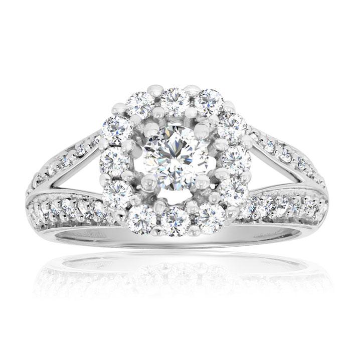 1 Carat Split Shank Halo Diamond Engagement Ring In 14 Karat White Gold thumbnail