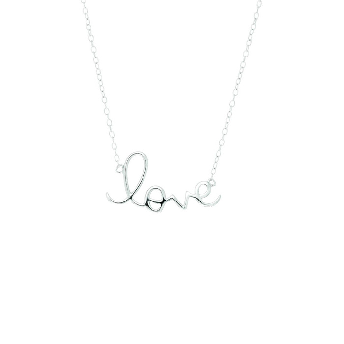Sterling Silver Love Necklace-18 inches