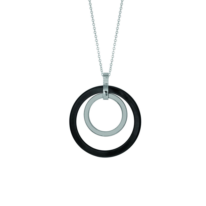 Stainless and black ceramic necklace 18 inches