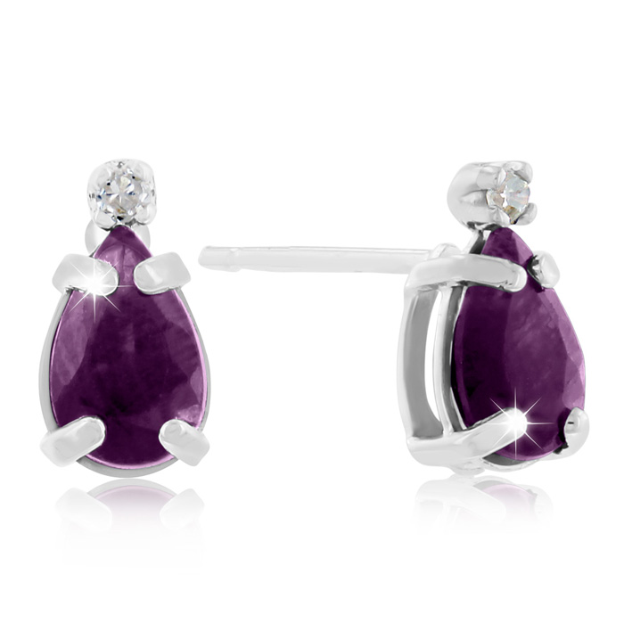 1ct Pear Amethyst and Diamond Earrings in 14k White Gold